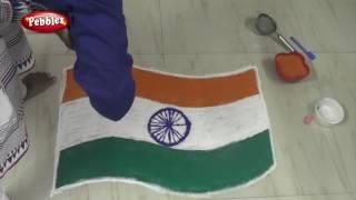 Republic day Kolam design    Republic day Rangoli design    Indian Flag  Rangoli Kolam and more
