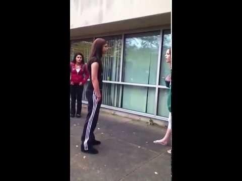 2 GIRLS WANNA GO FIGHT outside school IN LONDON 2016