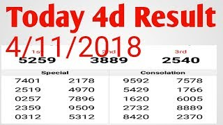 Today Result 4d 4/11/2018 Malaysia