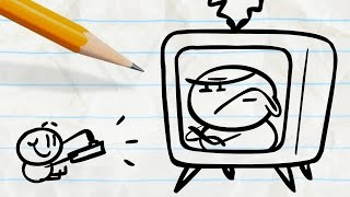 "Pencilmate Trapped in the Television! -in- ""TV Trauma"" Pencilmation Cartoons"