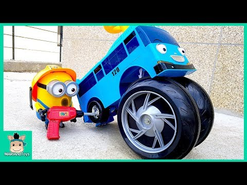 Tayo Bus Wheel fell off. Minions changing wheel of Car. Learn Color Tayo in real life | MariAndToys