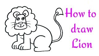 How to draw a Lion for kids | Lion Drawing Lesson Step by Step