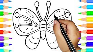 Children Learn To Draw Colorful Butterfly - Drawing And Coloring Book & Pages For Kids
