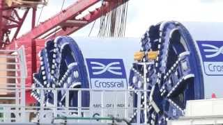 Crossrail's giant tunnelling machines lowered 40 metres underground
