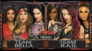 WWE; Team Bella VS Team Bad.  Raw 11-08-2015 ENG