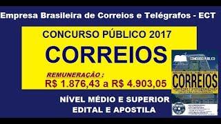 Edital Apostila Concurso CORREIOS 2017 Cargos  Nível Médio e Superior, comum a todos