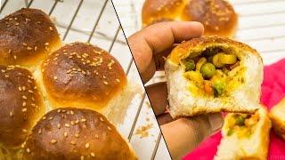Stuffed Buns Recipe | Surprise Inside Ladi Pav Bread Feather Soft Recipe | Eggless Baking