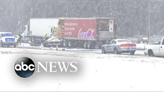At least 8 have died on slippery roads from Gulf Coast to Northeast