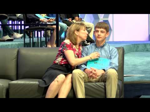 Spelling Bee contestant does NOT want a kiss from Mom
