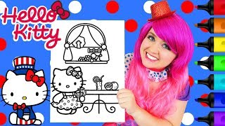 Coloring Hello Kitty 4th of July Sanrio Coloring Page Prismacolor Markers | KiMMi THE CLOWN