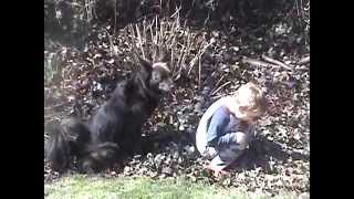 Little Boy Pees Outside With His Dog - Adorable :)