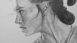 Portrait Drawing of Rey (Daisy Ridley) from Star Wars
