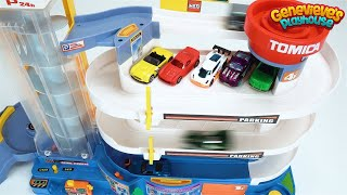 Learn Colors with Hot Wheels cars and motorized Tomica Parking Deck!