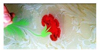 Ebru Sanati - Karanfil - Abdulkerim Caliskan, painting on water, marbling art