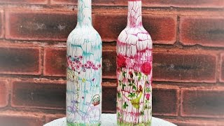 Decoupage Bottles with Easy Crackle - Decoupage Tutorial - DIY