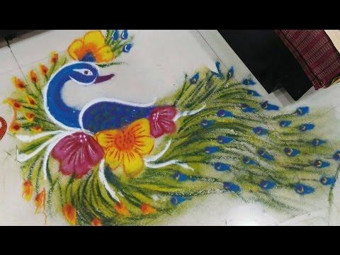 Xxx Mp4 EASY PEACOCK RANGOLI DESIGN With Colours For Sankranti Pongal Rangoli Designs By Creative Hands 3gp Sex