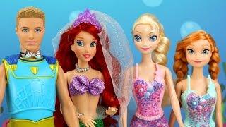 Frozen Anna y Elsa son Sirenas para la boda de Ariel y Tritón. Aventuras Juguetes