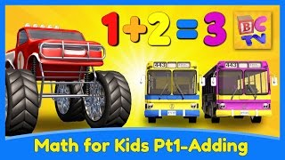 Learn Math for Kids | Adding with Monster Trucks by Brain Candy TV