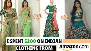 I SPENT $200 ON INDIAN CLOTHING FROM AMAZON| TRYING ON CHEAP LEHENGAS AND SAREES