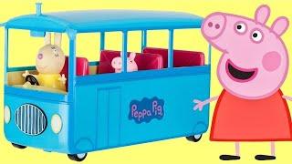 Nick Jr. PEPPA PIG School Bus, Sound, Song, Miss Rabbit, Candy Cat Toy Surprises Playset / TUYC