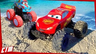 Disney Pixar CARS TOON Monster Truck McQueen &Tormentor Tow Mater stunts on the beach Seaside Action