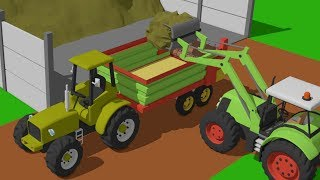 Tractor with loader for manure | Farm Works | Traktor z ładowaczen do obornika - Farmer Bajki 2