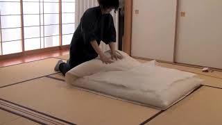 手作り木綿布団の作成画像-Handmade Japanese-made futon