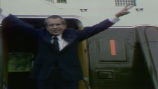 Richard Nixon leaves the White House for the last time as president