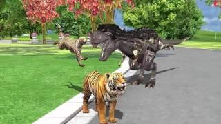 Dinosaur Nursery Rhymes for kids| Lion Tiger Cheeta Gorzila| Dinosaurs Movie Fighting For Children