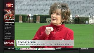 Phyllis from Mulga, AL on SportsCenter with Cari Champion and Paul Finebaum