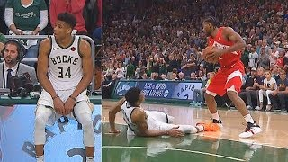 Giannis Hurts His Ankle & Sits Out In Game 5 Final Minutes vs Raptors!