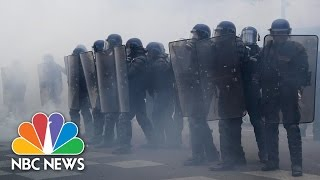 Tear Gas At Protests Against French Presidential Candidates | NBC News