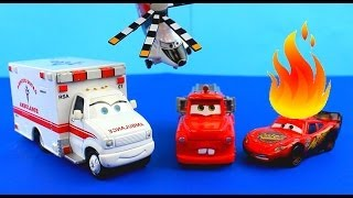 Disney Pixar Cars Rescue squad mater Saves Lightning McQueen on fire after Hellicopter accident.