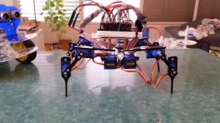 Arduino 4 legs 12 servo learn to walk  !!