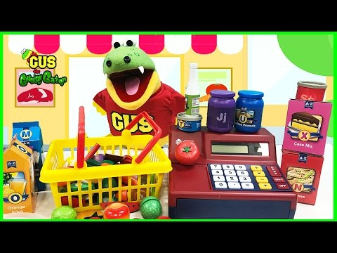 Pretend Play food toys grocery store shopping Learn food names cash register funny video for kids