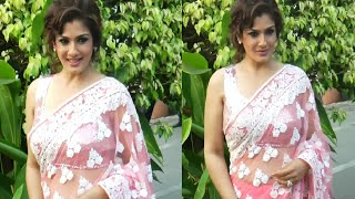 Raveena Tandon looking STUNNING in sleeveless blouse and transparent saree at an event function.