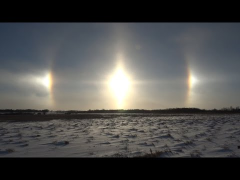 Intense Vivid Sun Dogs Blowing Snow & Cold, Alexandria MN