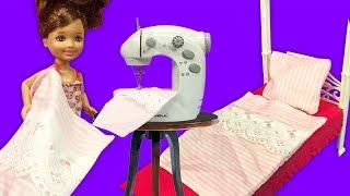 Barbie ve Oyuncak Bebek için Örtü Dikimi | Oyuncak Dikiş Makinesi | EvcilikTV
