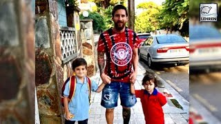 Lionel Messi Takes His Sons To School During His Time Off From Argentina Squad