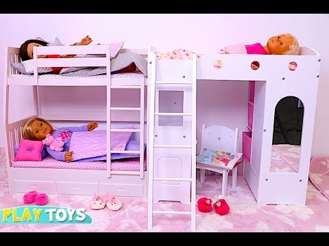 Baby Doll Bunk Bed bedroom house toy play doll wardrobe closet and dress up dolls