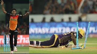 Andre Russell Knocked down by a Yorker of Mustafizur Rahman