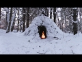 Download Video Download Winter Bushcraft Camp Building - Wikiup, Axe, Knife, Snow Storm 3GP MP4 FLV