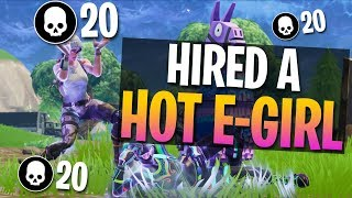 E-Girl Hired To Read Donations & Subs! 20 Kill Solo Gameplay (Fortnite Battle Royale)