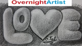 3D Drawings: Love, Bubble Letters, Pencil, Drawings, Step By Step