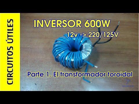 Inversor 12v a 220 125V 600W. 1 2 TRANSFORMADOR. CU 14