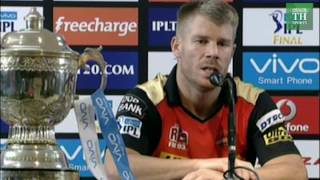 IPL 2016: SRH captain David Warner after win against RCB