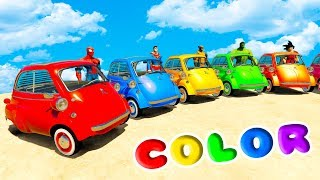 LEARN COLOR MICROCARS w/ SUPERHEROES For Kids and Babies Nursery Rhymes