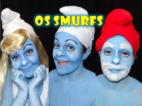Maquiagem dos Smurfs Smurfette e Papai Smurf Por Renata Monteiro MAQUIAGEM ARTÍSTICA