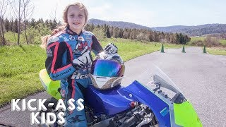 10-Year-Old Motorcyclist Racing The Pros | KICK-ASS KIDS