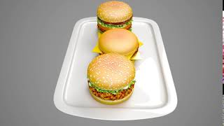 3D Food product Modeling 360 Degree animation  - new burger Design